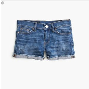 J. Crew Indigo Denim Raw Hem Jean Shorts